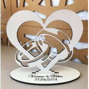Ref. 006 - Topo de Bolo MDF Branco Coração Alianças Noivos Casamento 15cm