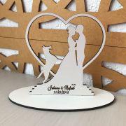 Ref. 007 - Topo de Bolo MDF Branco Coração Alianças Noivos Casamento 15cm Cachorro Cachorrinho