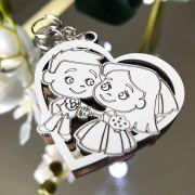 Ref. 008  -  Chaveiros Casamento Personalizado Coração MDF BRANCO