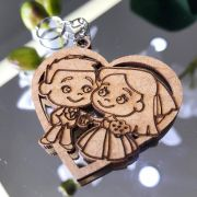 Ref. 008  - Chaveiros Casamento Personalizado Coração MDF CRU