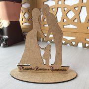 Ref. 008 - Topo de Bolo Casamento Noivos Noivos Menina - 15cm MDF CRU