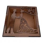 Ref. 009 - Caixa Vazada Noivos MDF Laminado 15x15cmx7cm