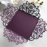 Ref. 009 - Envelope para Convite Casamento 18x18cm Corte a Laser Arabesco Papel Color Plus 180g