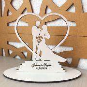 Ref. 009 - Topo de Bolo MDF Branco Coração Alianças Noivos Casamento 15cm Elegante