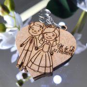 Ref. 010  - Chaveiros Casamento Personalizado Coração MDF CRU