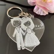 Ref. 010 -  Chaveiros Casamento Personalizados Acrílico Cristal