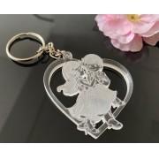 Ref. 012 -  Chaveiros Casamento Acrílico Cristal Casal no Coração