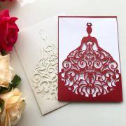 Ref. 012 - Envelope para Convite Casamento 13x18cm Corte a Laser Noiva Papel Color Plus 180g