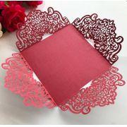 Ref. 013 - Envelope para Convite Casamento 18x18cm Corte a Laser Arabescos Papel Color Plus 180g