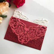 Ref. 015 - Envelope para Convite Casamento 13x18cm Corte a Laser Arabesco Papel Color Plus 180g