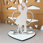 Ref. 016 - Topo de Bolo MDF Branco Coração Alianças Noivos Casamento 15cm
