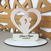 Ref. 017 - Topo de Bolo MDF Branco Coração Alianças Noivos Casamento 15cm