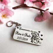 Ref. 019 -  Chaveiros Casamento do Ano Personalizados MDF BRANCO