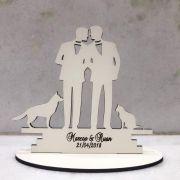 Ref. 019 - Topo de Bolo MDF Branco Coração Alianças Noivos Casamento 15cm