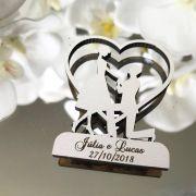 Ref. 021 -  Ímãs de Geladeira Noivos Coração - Personalizado MDF BRANCO