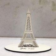 Ref. 021 - Topo de Bolo MDF Branco Paris 15cm Torre Eiffel