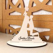 Ref. 022 - Topo de Bolo MDF Branco Noivos Casamento 15cm Gestante