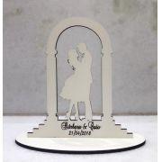 Ref. 023 - Topo de Bolo MDF Branco Noivos Casamento 15cm Portal