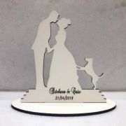 Ref. 025 - Topo de Bolo MDF Branco Noivos Casamento 15cm Cachorro cachorrinho