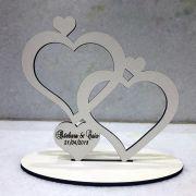 Ref. 028 - Topo de Bolo MDF Branco Noivos Casamento 15cm Corações