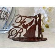 Ref. 034 - Kit Lembrancinhas de Casamento MDF Laminado Madeira Iniciais Noivos