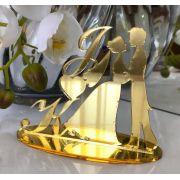 Ref. 034 - Topo de Bolo Iniciais Noivos Casamento 15cm Dourado Espelhado