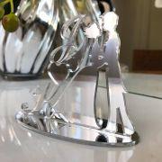 Ref. 034 - Topo de Bolo Iniciais Noivos Casamento 15cm Prata Espelhado