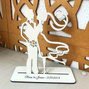 Ref. 035 - Topo de Bolo MDF Branco Noivos 15cm Casamento