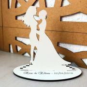 Ref. 037 - Topo de Bolo MDF Branco Noivos 15cm Casamento Noivas