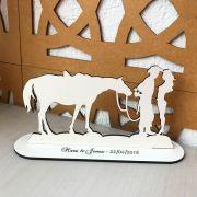 Ref. 038 - Topo de Bolo MDF Branco Noivos 15cm Casamento Boi Fazenda Vaquejada