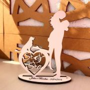 Ref. 039 - Kit Centros de Mesa de Casamento MDF Branco Sr Sra Cachorrinho 20cm