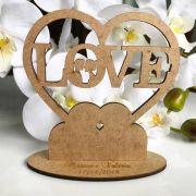 Ref. 052 - Kit Lembrancinhas de Casamento Personalizadas LOVE Coração MDF Cru