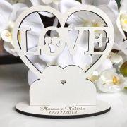 Ref. 052- Topo de Bolo MDF Branco Coração Love Noivos Casamento 15cm