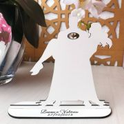 Ref. 054 - Topo de Bolo MDF Branco Coração Noivos Casamento 15cm
