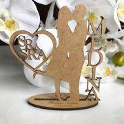 Ref. 058 - Kit Lembrancinhas de Casamento Sr Sra Personalizadas LOVE MDF Cru