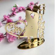 Ref. 058 - Topo de Bolo Sr e Sra Noivos Casamento 15cm Dourado Espelhado