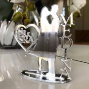 Ref. 058 - Topo de Bolo Sr e Sra Noivos Casamento 15cm Prata Espelhado