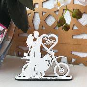Ref. 059 - Kit Lembrancinhas de Casamento Personalizadas MDF Branco Noivos Moto