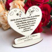 Ref. 060 - Kit Lembrancinhas de Casamento Personalizadas MDF Branco Frase Bíblica