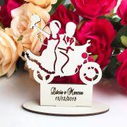 Ref. 061 - Kit Lembrancinhas de Casamento MDF Branco Moto Noivos
