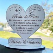 Ref. 070 - Kit Lembrancinhas Bodas de Prata MDF Branco Coração