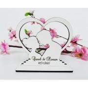 Ref. 071 - Kit Lembrancinhas de Casamento MDF Branco Noivos no Coração