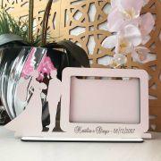 Ref. 100 - Quadro Porta Retrato Personalizado Noivos Casamento - MDF Branco