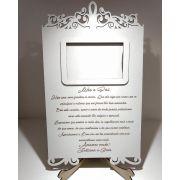 Ref. 300 - Porta Retrato com Frase para os Pais - Casamento MDF Branco