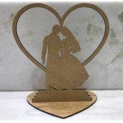 Ref. 001 Topo de Bolo Casamento Noivos Coração 15cm - MDF CRU
