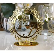 Topo de Bolo Monograma Iniciais Noivos Casamento 18cm Dourado Espelhado