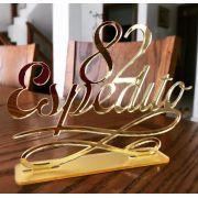 Topo de Bolo Nome + Idade 15cm Dourado Espelhado