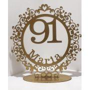Topo de Bolo Provençal Monograma Redondo com nome e idade - 15cm - MDF Dourado