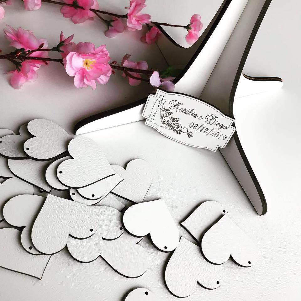 Árvore de Assinaturas Personalizada 50cm + 100 corações MDF BRANCO 6mm