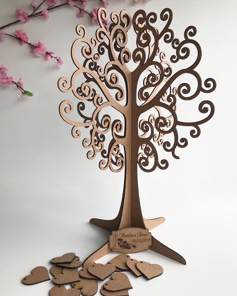 Árvore de Assinaturas Personalizada 50cm + 100 corações MDF CRU 3mm